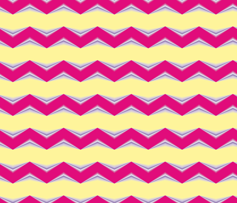 Red Periwinkle 3d Chevron and Lemon Yellow Bands fabric by animotaxis on Spoonflower - custom fabric