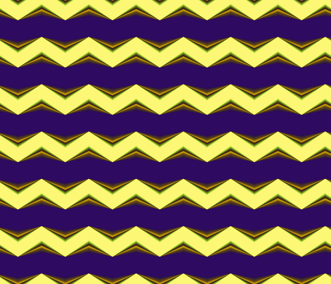 Lemon Yellow, Gold 3d Chevron and Blue Bands fabric by animotaxis on Spoonflower - custom fabric