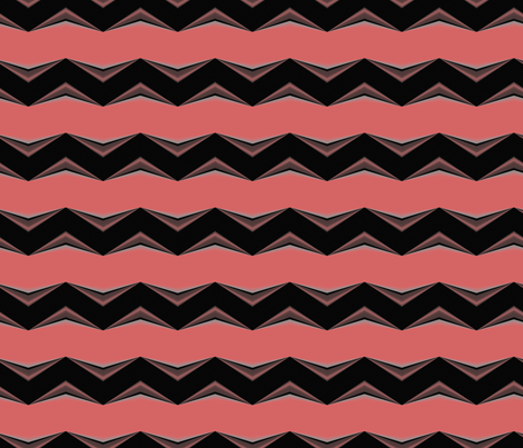 Dark Brown 3d Chevron and Salmon Bands fabric by animotaxis on Spoonflower - custom fabric