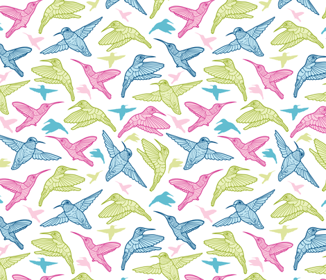 Colorful Humming Birds fabric by oksancia on Spoonflower - custom fabric