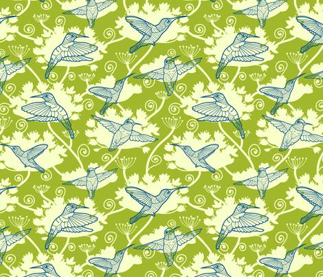 Humming Bird Garden fabric by oksancia on Spoonflower - custom fabric