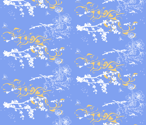 love_wind_and_sakura in blue fabric by isabella_asratyan on Spoonflower - custom fabric