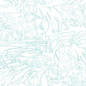 Aqua Teal Landscape