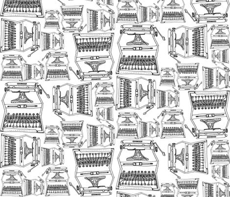 typeWRITER-b/w fabric by rachaelanndesign on Spoonflower - custom fabric