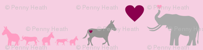 Donkey Elephant Love + Babies on Pink