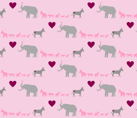 Donkey Elephant Love + Babies on Pink fabric by smuk on Spoonflower - custom fabric