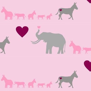 Donkey Elephant Love + Babies on Pink