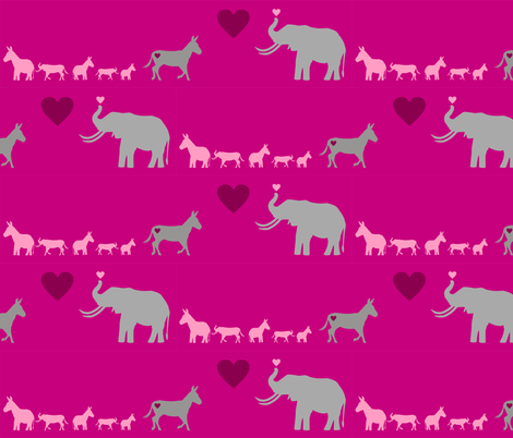 Donkey Elephant Love + kids on hotpink fabric by smuk on Spoonflower - custom fabric