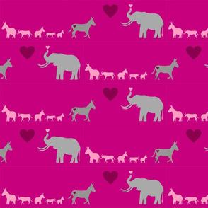 Donkey Elephant Love + kids on hotpink