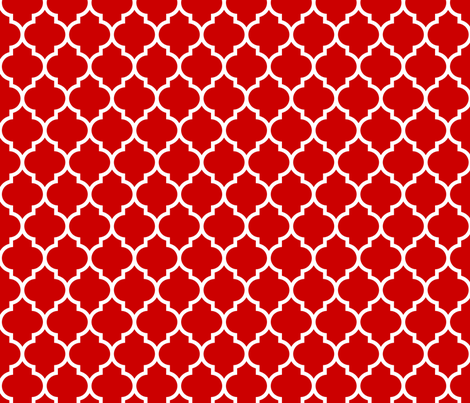 moroccan quatrefoil lattice in red fabric by spacefem on Spoonflower - custom fabric
