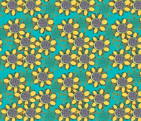 Sassy_Sunflower_Repeat fabric by kissingfrogs on Spoonflower - custom fabric