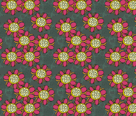 Contemporary Sunflower fabric by kissingfrogs on Spoonflower - custom fabric