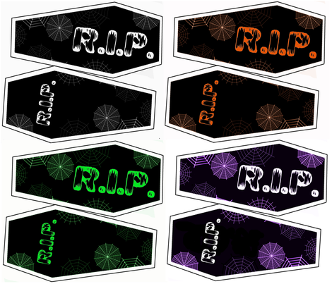 All 4 Coffin Pillow Kits Black, green, purple, orange, and white fabric by onestitchdesigns on Spoonflower - custom fabric