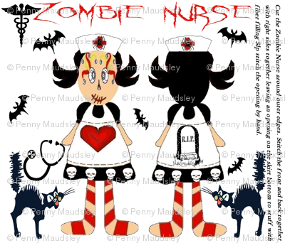 ZOMBIE NURSE CUT & SEW BIG SISTER DOLL