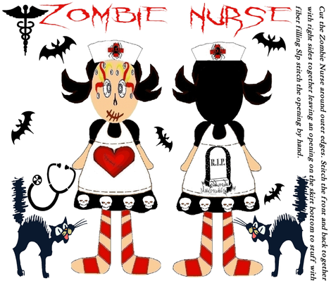 ZOMBIE NURSE CUT & SEW BIG SISTER DOLL fabric by bluevelvet on Spoonflower - custom fabric