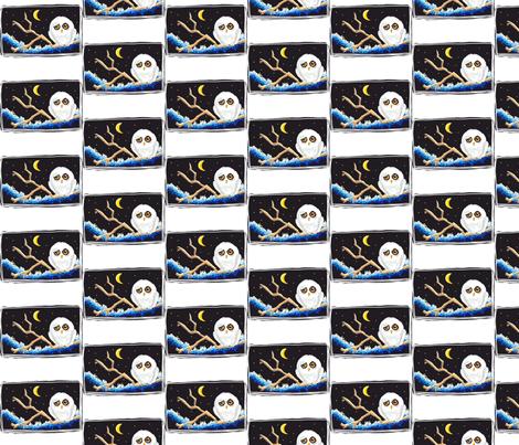 Sleepy Snowy Owl fabric by andybee on Spoonflower - custom fabric