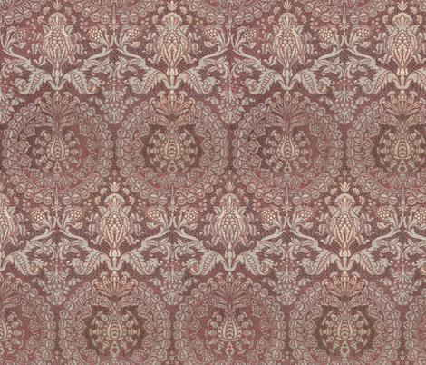 Catherine of Aragon Damask ~ Mauve fabric by peacoquettedesigns on Spoonflower - custom fabric