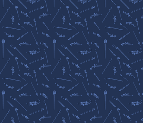 Historical Weapons Spread-Blue fabric by ninniku on Spoonflower - custom fabric