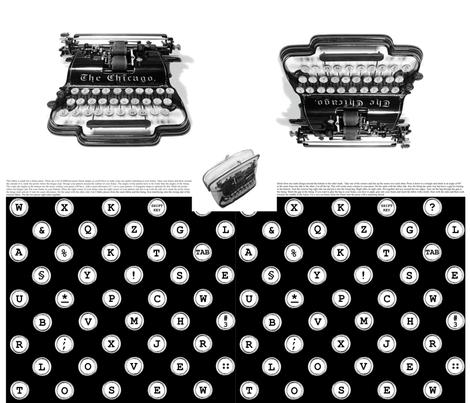 typewriter frame-purse fabric by melimiliá on Spoonflower - custom fabric