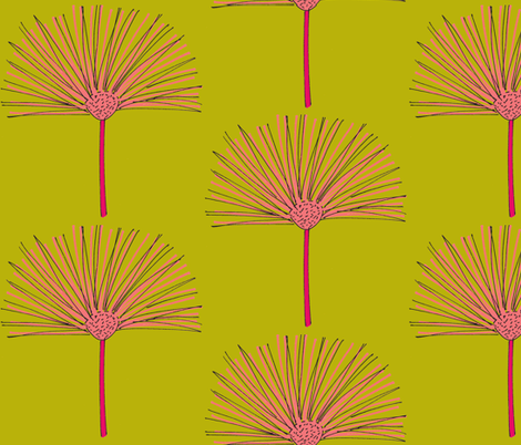 pink pouf-green fabric by dnbmama on Spoonflower - custom fabric