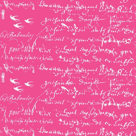 French Script Bold, Shocking Pink fabric by karenharveycox on Spoonflower - custom fabric