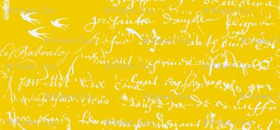 French Script Bold, Bright Yellow