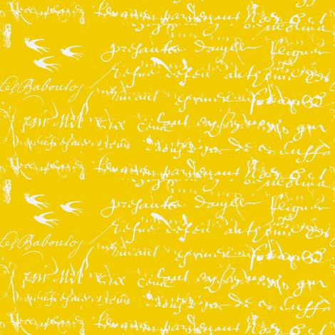 French Script Bold, Bright Yellow fabric by karenharveycox on Spoonflower - custom fabric