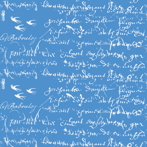 French Script Bold, Cornflower Blue fabric by karenharveycox on Spoonflower - custom fabric