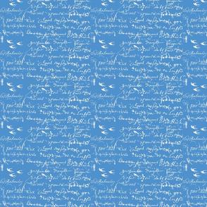 French Script Bold, Cornflower Blue