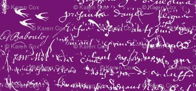 French Script Bold, Purple Grapes