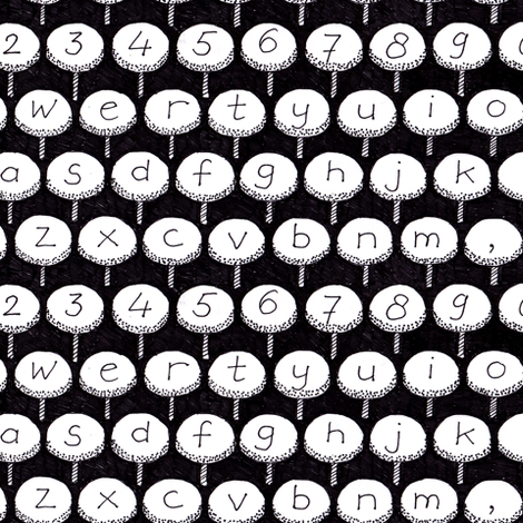 typewriter stools black and white fabric by zandloopster on Spoonflower - custom fabric