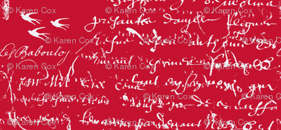 French Script Bold. Rosy Red