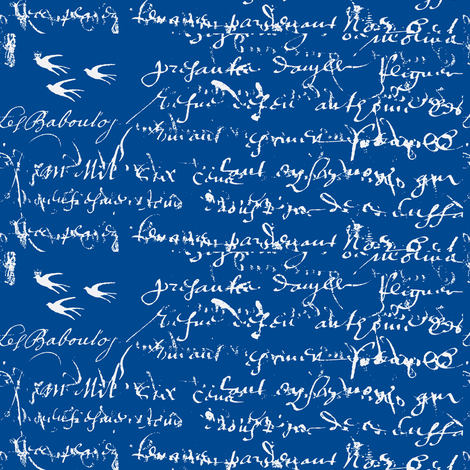 French Script Bold. Boat Blue fabric by karenharveycox on Spoonflower - custom fabric
