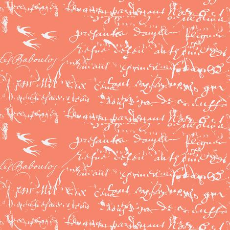 French Script Bold, Deep Peach fabric by karenharveycox on Spoonflower - custom fabric