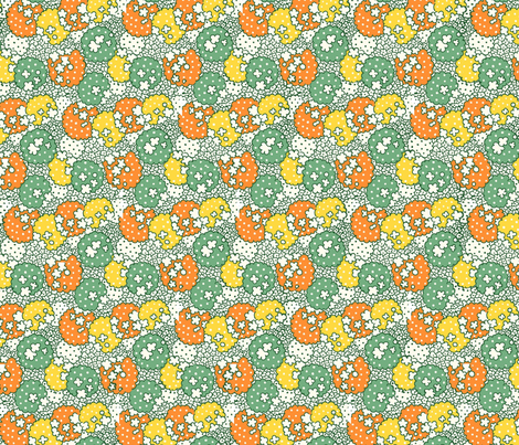 Vintage Green Orange Multi fabric by tulsa_gal on Spoonflower - custom fabric