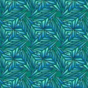 palm leaves - blue embroidered