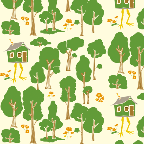 Baby Yaga's House: Russian Folk Tale fabric by laurawilson on Spoonflower - custom fabric