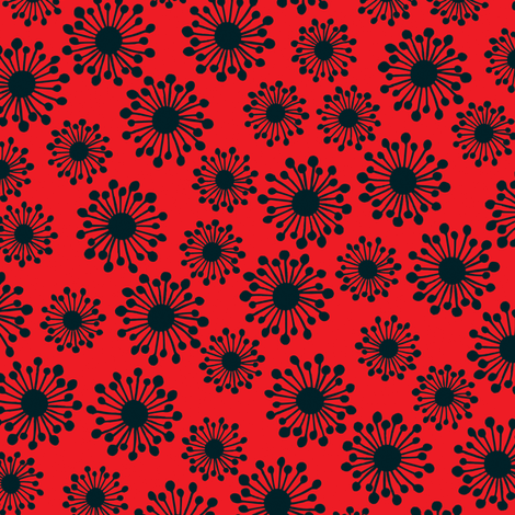 Seedpod in red fabric by bippidiiboppidii on Spoonflower - custom fabric