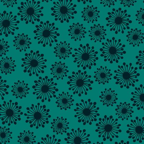 Seedpod on teal fabric by bippidiiboppidii on Spoonflower - custom fabric