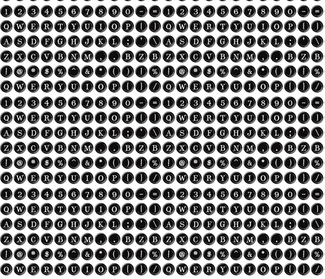 Typewriter Overnighter (small black keys) fabric by bethany@bzbdesigner_com on Spoonflower - custom fabric
