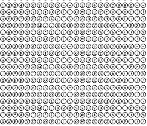 Typewriter Overnighter (Small White keys) fabric by bzbdesigner on Spoonflower - custom fabric