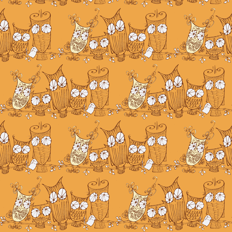 The Committee_brown/mango fabric by cheeseandchutney on Spoonflower - custom fabric