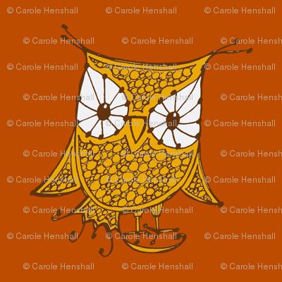 Large Owl_18x18_gold_orange