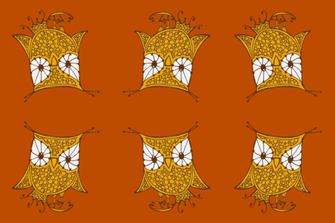 Large Owl_18x18_gold_orange fabric by cheeseandchutney on Spoonflower - custom fabric