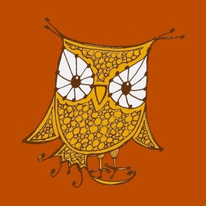 Large Owl_18x18_gold_orange