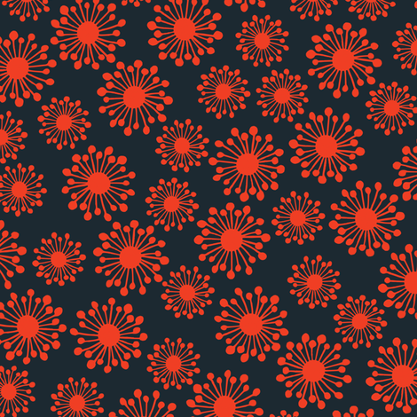 Seedpod - navy and coral fabric by bippidiiboppidii on Spoonflower - custom fabric
