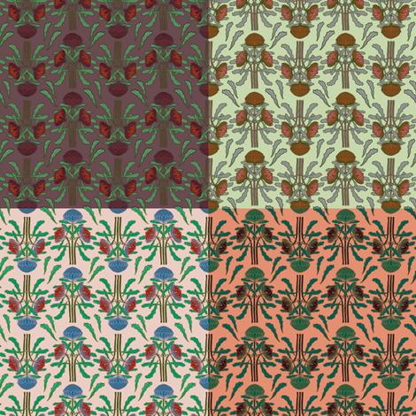 Small print waratahs 4 in 1 sampler fabric by su_g on Spoonflower - custom fabric