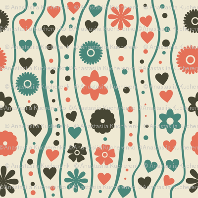 retro hearts and flowers