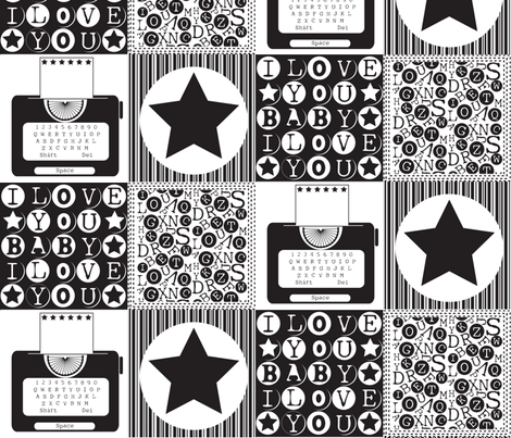 Typewriter_v2_BW fabric by jlwillustration on Spoonflower - custom fabric
