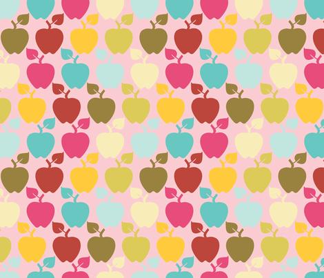 apples_pink fabric by natasha_k_ on Spoonflower - custom fabric